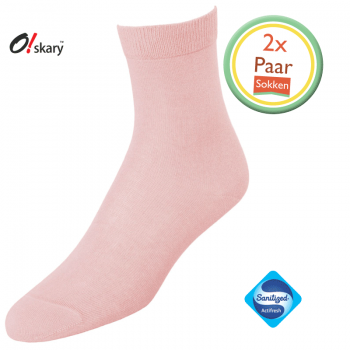 2 Paar dames sokken licht roze klassiek