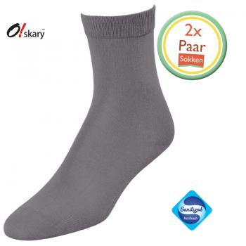 2 Paar dames sokken grijs klassiek