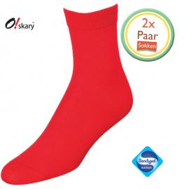 2 Paar dames sokken rood klassiek