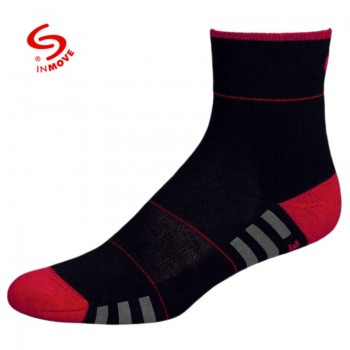 Koele sportsokken voor dames zwart met rood