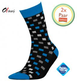 Heren sokken geblokt blauw 2 paar