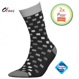 Heren sokken geblokt grijs 2 paar