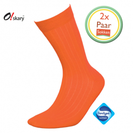 Herensokken oranje klassiek (2 Paar)
