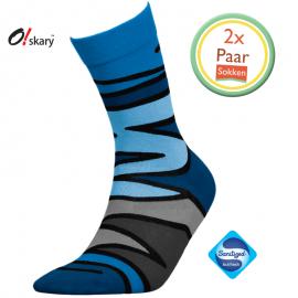 Herensokken blauw zigzag design (2 Paar)