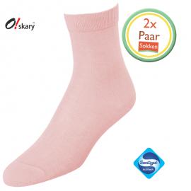 2 Paar dames sokken licht roze klassiek